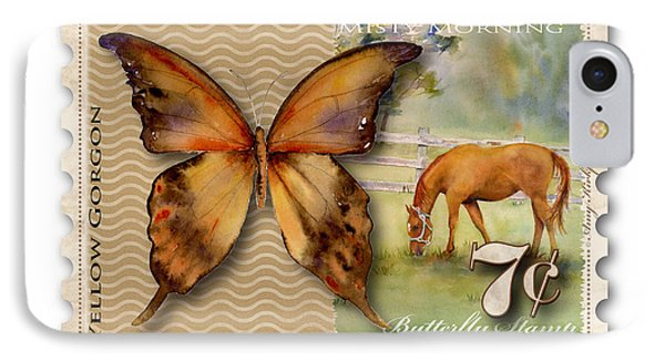 7 Cent Butterfly Stamp IPhone Case by Amy Kirkpatrick