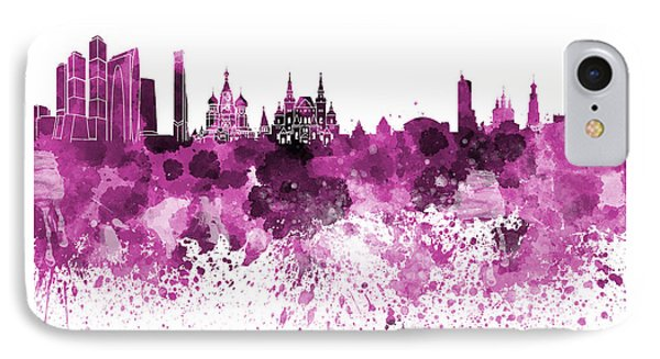 Moscow Skyline White Background IPhone Case by Pablo Romero