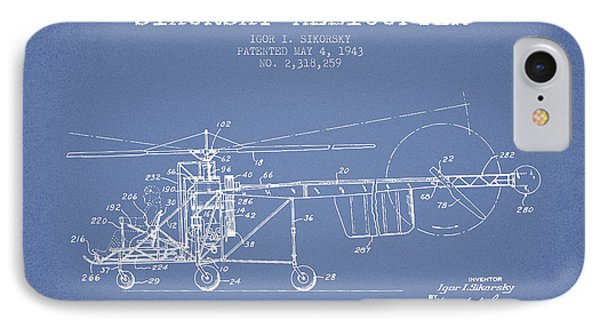 Sikorsky Helicopter Patent Drawing From 1943 IPhone 7 Case by Aged Pixel