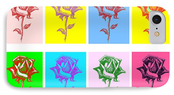 8 Warhol Roses By Punt Phone Case by Gordon Punt