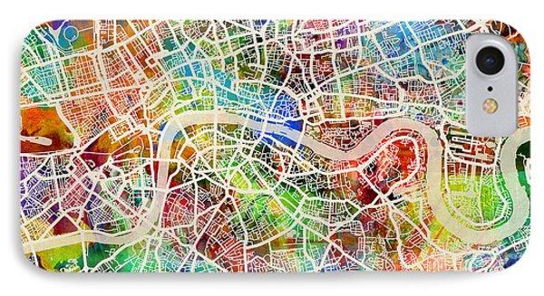 London England Street Map IPhone Case by Michael Tompsett