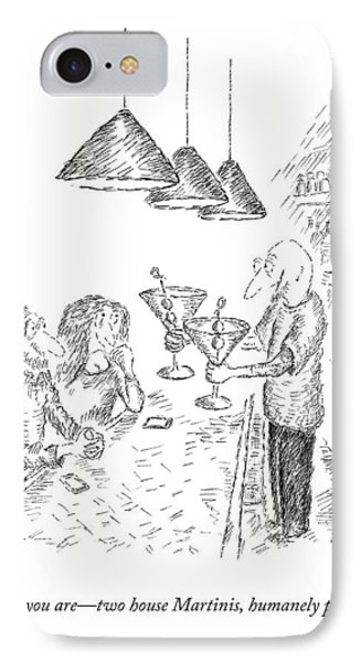 A Bartender Serves Two Martinis IPhone Case by Edward Koren