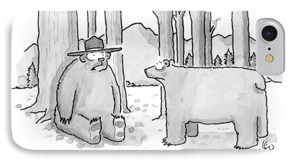 A Bear Wearing A Ranger Hat Addresses Another IPhone Case by Leo Cullum