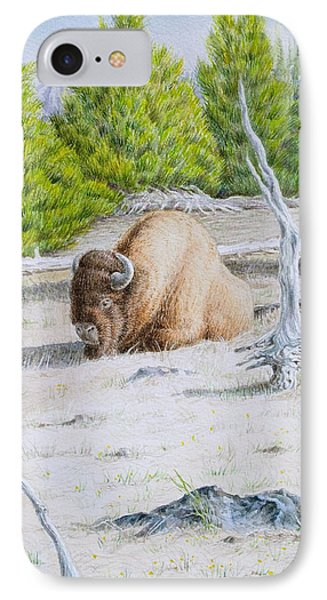 A Buffalo Sits In Yellowstone IPhone Case by Michele Myers