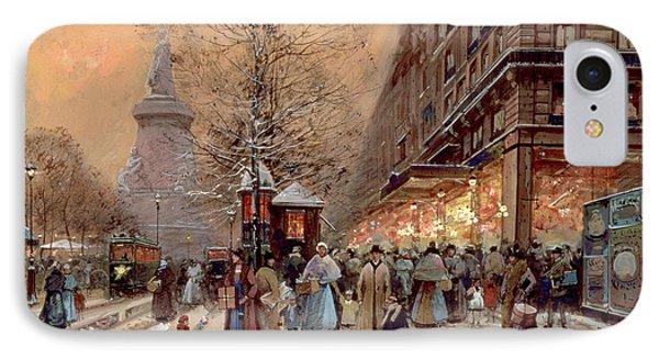 A Busy Boulevard Near The Place De La Republique Paris IPhone Case by Eugene Galien-Laloue
