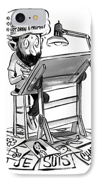 A Cartoonist Sits At His Desk Drawing. A Thought IPhone Case by Zohar Lazar