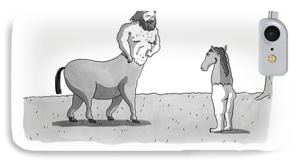 A Centaur Angrily Talks To A Creature Who IPhone Case by Zachary Kanin