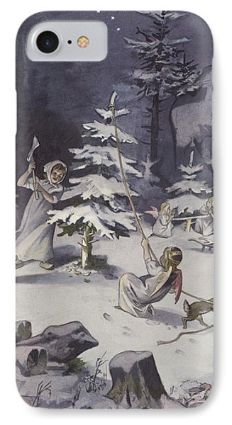 A Cherub Wields An Axe As They Chop Down A Christmas Tree IPhone Case by French School