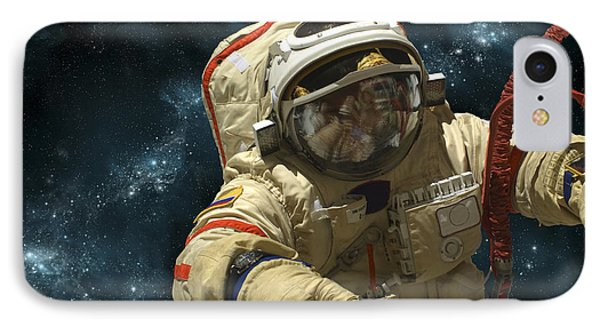 A Cosmonaut Against A Background IPhone Case by Marc Ward