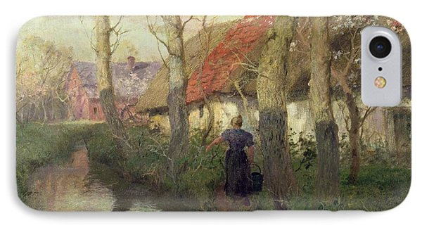 A French River Landscape With A Woman By Cottages Phone Case by Fritz Thaulow