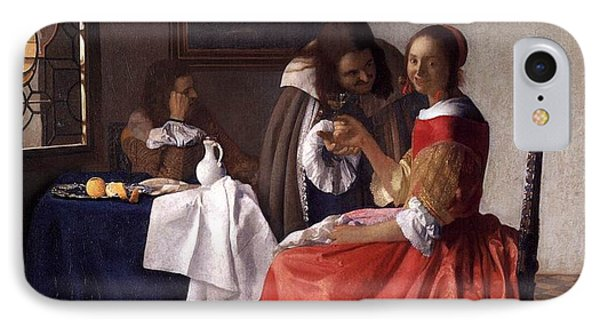 A Lady And Two Gentlemen IPhone Case by Johannes Vermeer