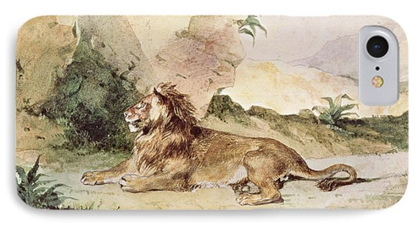A Lion In The Desert IPhone Case by Ferdinand Victor Eugene Delacroix