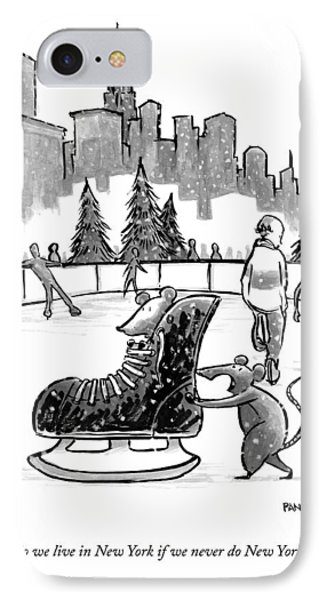 A Mouse Pushes Another Mouse In A Large Ice Skate IPhone Case by Corey Pandolph