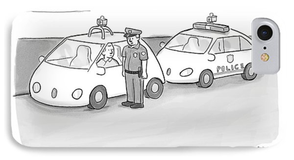 A Police Officer In A Futuristic Smart-car Pulls IPhone Case by Paul Noth