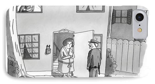 A Police Officer Makes A House Call. Inside A Dog IPhone Case by Zachary Kanin