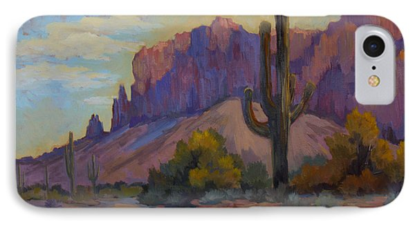 A Proud Saguaro At Superstition Mountain IPhone Case by Diane McClary