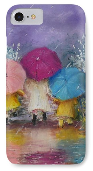 A Rainy Day Stroll With Mom IPhone Case by Jack Skinner