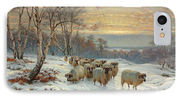 A Shepherd With His Flock In A Winter Landscape IPhone Case by Wright Barker