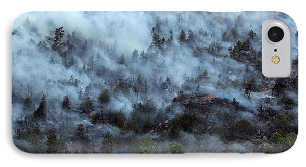 IPhone Case featuring the photograph A Smoky Slope On White Draw Fire by Bill Gabbert