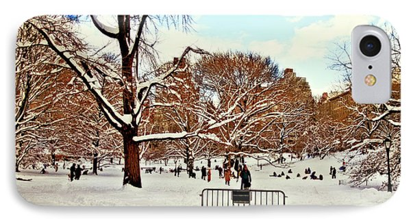 A Snow Day In Central Park Phone Case by Madeline Ellis