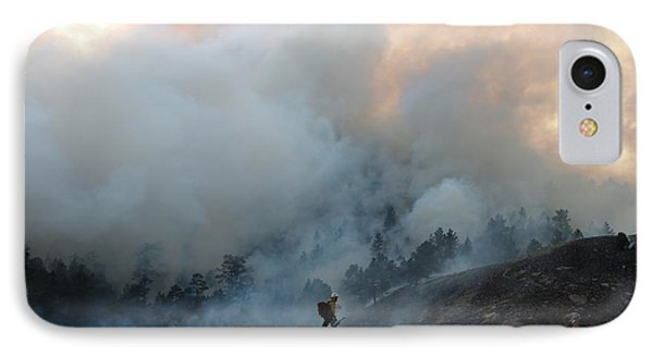 IPhone Case featuring the photograph A Solitary Firefighter On The White Draw Fire by Bill Gabbert