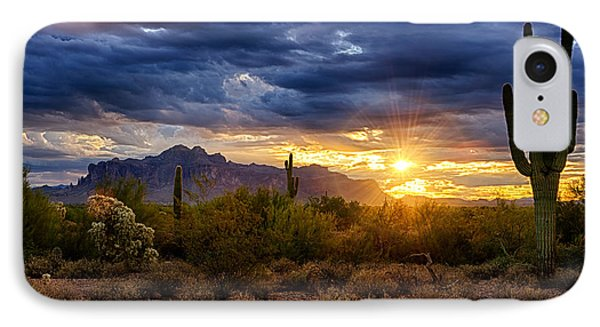 A Sonoran Desert Sunrise IPhone Case by Saija  Lehtonen
