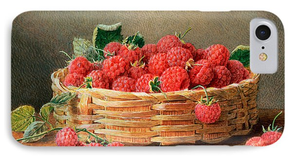 A Still Life Of Raspberries In A Wicker Basket  IPhone Case by William B Hough