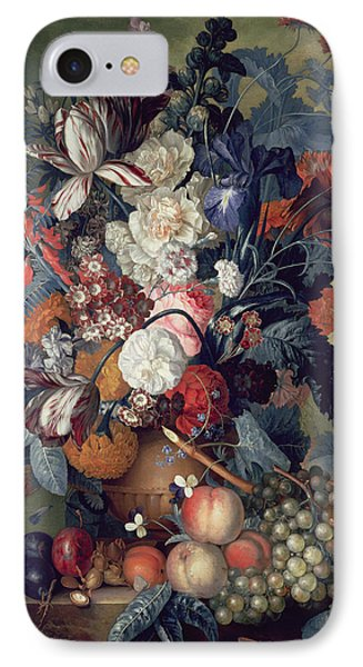A Vase Of Flowers With Fruit IPhone Case by Jacob van Huysum