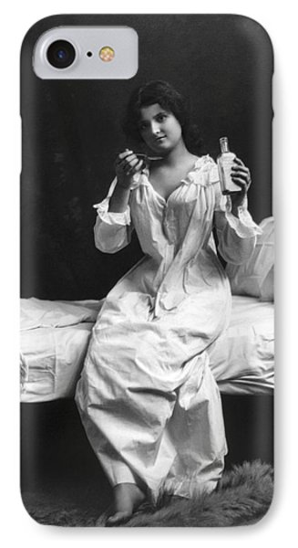 A Woman Taking Medicine IPhone Case by Underwood Archives