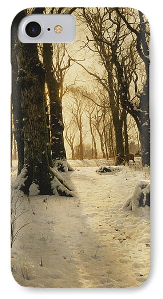 A Wooded Winter Landscape With Deer IPhone Case by Peder Monsted