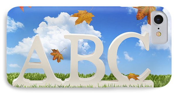 Abc Letters With Autumn Leaves IPhone Case by Amanda Elwell