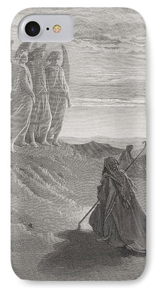 Abraham And The Three Angels Phone Case by Gustave Dore