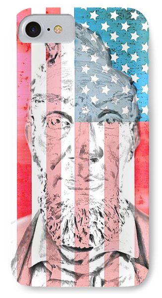 Abraham Lincoln Vintage American Flag Phone Case by Dan Sproul