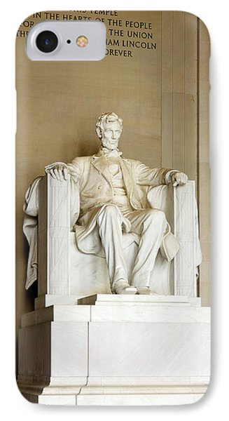 Abraham Lincolns Statue In A Memorial IPhone Case by Panoramic Images