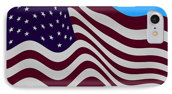 Abstract Burgundy Grey Violet 50 Star American Flag Flying Cropped IPhone 7 Case by L Brown