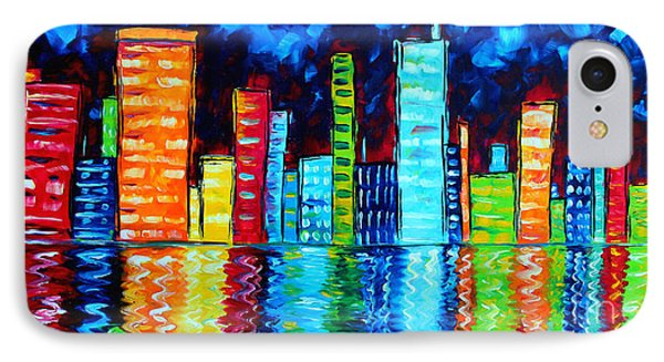 Abstract Art Landscape City Cityscape Textured Painting City Nights II By Madart IPhone 7 Case by Megan Duncanson