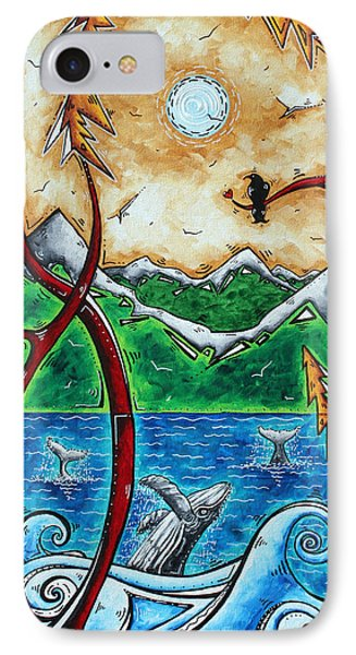 Abstract Art Original Alaskan Wilderness Landscape Painting Land Of The Free By Madart Phone Case by Megan Duncanson