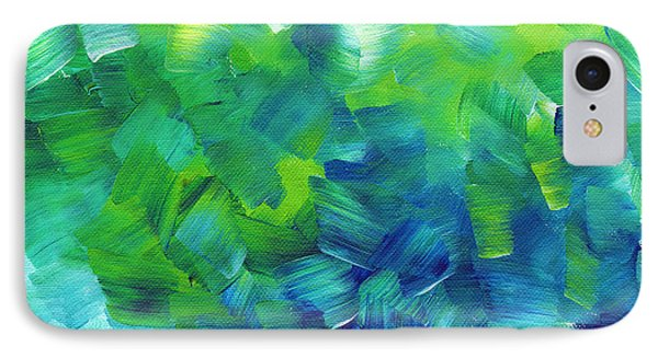 Abstract Art Original Textured Soothing Painting Sea Of Whimsy I By Madart IPhone Case by Megan Duncanson