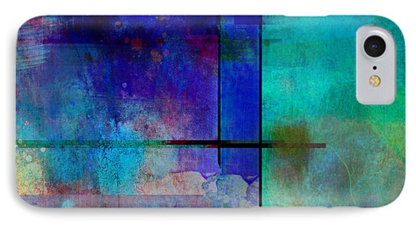 abstract-art-Rhapsody in Blue Square  Phone Case by Ann Powell