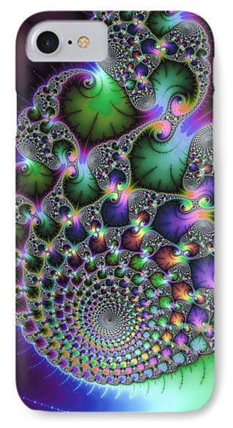 Abstract Fractal Art Green Purple Jewel Colors Square Format IPhone Case by Matthias Hauser