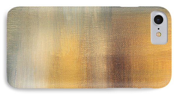 Abstract Golden Yellow Gray Contemporary Trendy Painting Fluid Gold Abstract II By Madart Studios Phone Case by Megan Duncanson