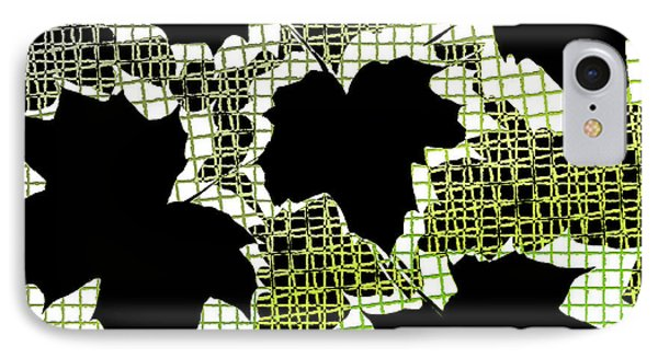 Abstract Leaf Pattern - Black White Lime Green Phone Case by Natalie Kinnear
