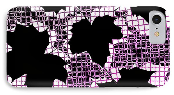 Abstract Leaf Pattern - Black White Pink Phone Case by Natalie Kinnear