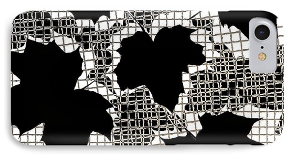 Abstract Leaf Pattern - Black White Sepia Phone Case by Natalie Kinnear
