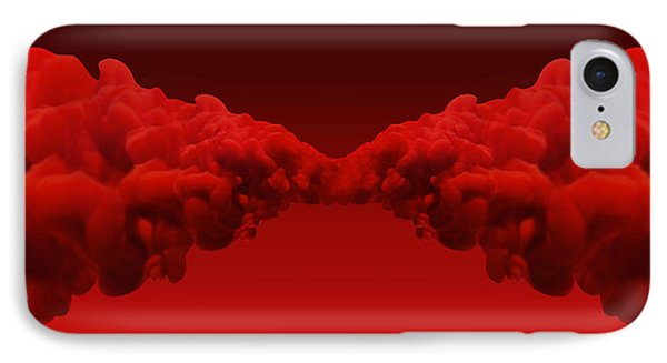 Abstract Merging Red Inks IPhone Case by Allan Swart