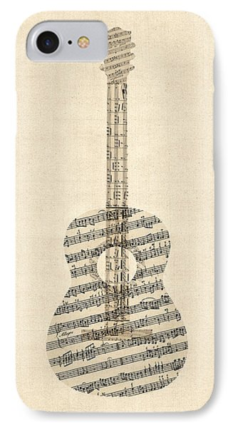 Acoustic Guitar Old Sheet Music IPhone Case by Michael Tompsett