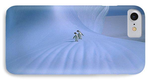 Adelie Penguins On Iceberg Antarctica IPhone 7 Case by Peter Sinden