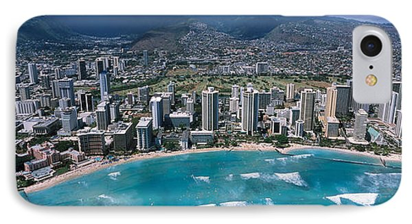 Aerial View Of A City, Waikiki Beach IPhone Case by Panoramic Images