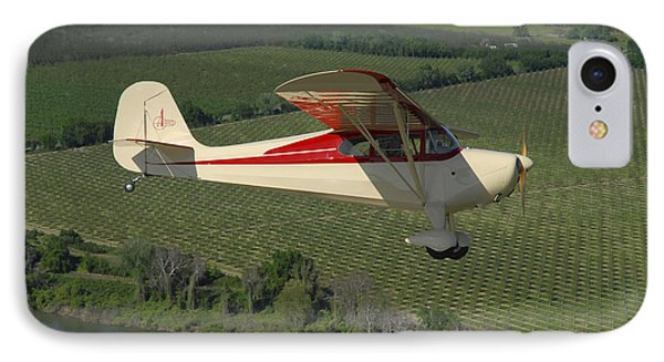 Aeronca Chief Flying Over Sacramento IPhone Case by Phil Wallick