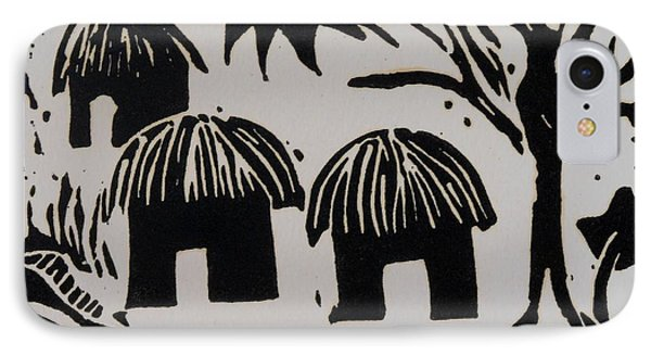 African Huts White Phone Case by Caroline Street